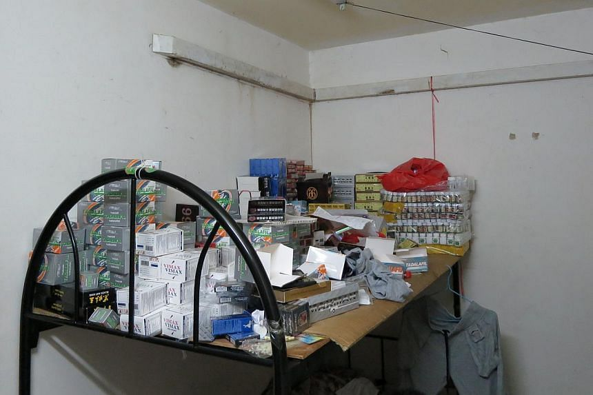 The haul included more than 94,000 units of what were mainly sexual enhancement drugs, with a total of 80 different types of products. -- PHOTO: HSA/ICA