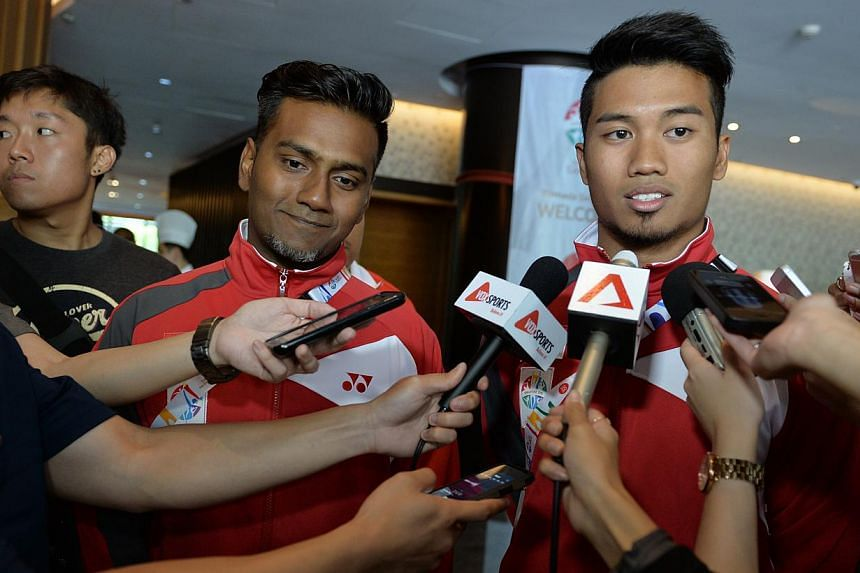 "Young Lions team manager Mohamed Feizel Noor (left) and captain Muhammad Al-Qaasimy Abdul Rahman say the Days Hotel is ""a luxury"" for the team. -- ST PHOTO: CAROLINE CHIA"