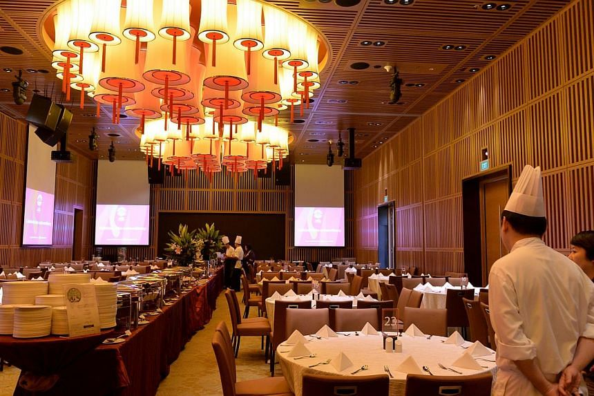 The 260-seater dining area at the Ramada Singapore at Zhongshan Park. The hotel will house athletes and officials from gymnastics and shooting for the SEA Games. -- ST PHOTO: CAROLINE CHIA