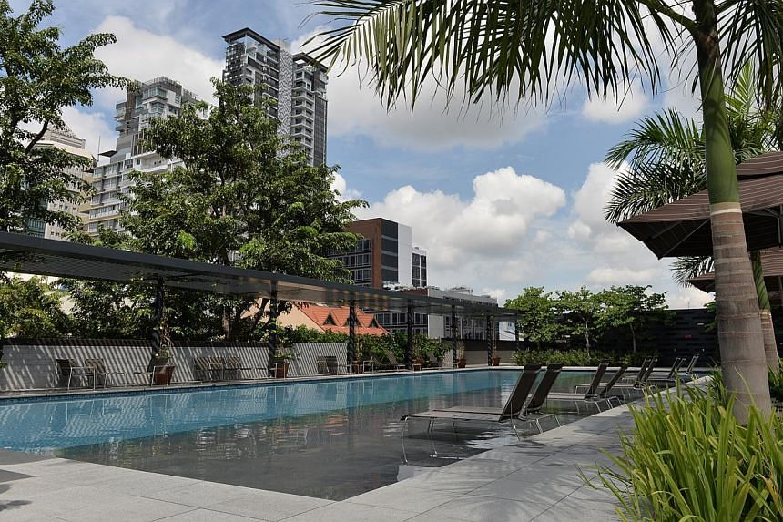 The swimming pool at the Ramada Singapore at Zhongshan Park in Balestier, where athletes of gymnastics and shooting will be staying during the SEA Games. -- ST PHOTO: CAROLINE CHIA