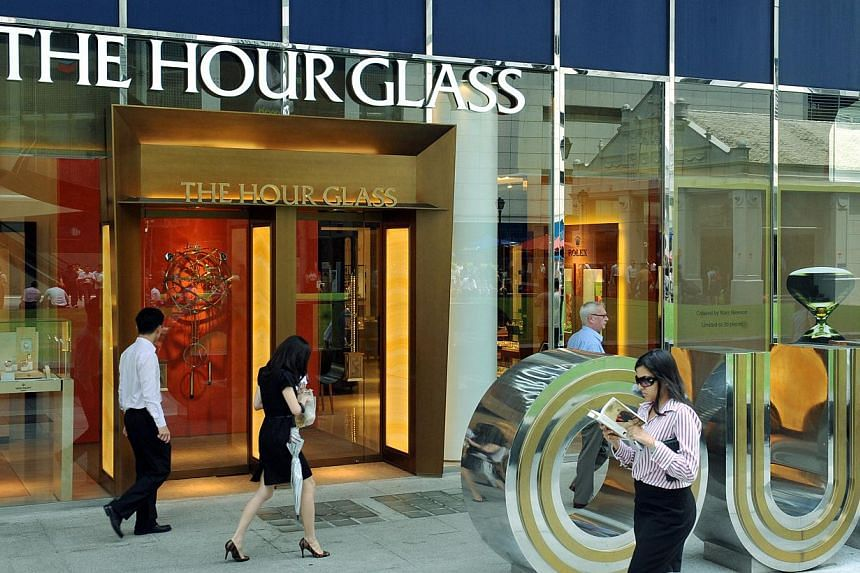 Luxury watch retailer The Hour Glass reported on Wednesday a 5 per cent increase in full year net profit to $57.9 million -- PHOTO: SPH