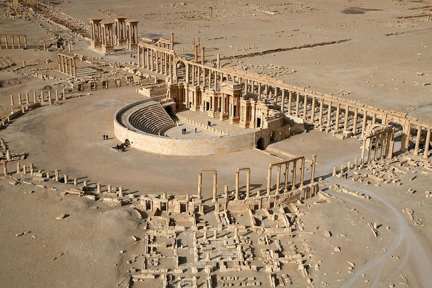 An aerial view taken on January 13, 2009 shows a part of the ancient city of Palmyra. Islamic State in Iraq and Syria (ISIS)militants shot dead around 20 men inside an ancient amphitheatre in Palmyra on Wednesday, May 27, 2015, accusing them of