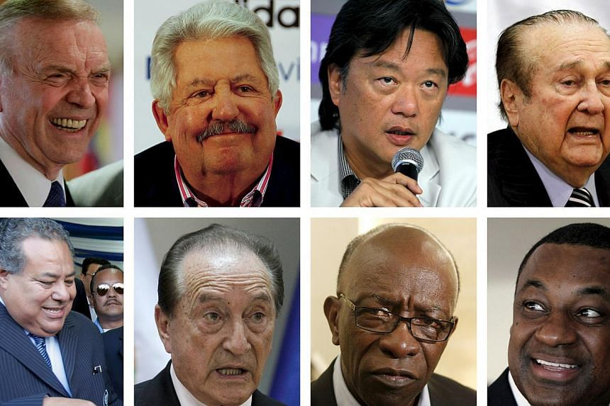 A combination photo showing eight of the nine football officials indicted for corruption charges in these file photos. From left to right: (top row) Jose Maria Marin, Rafael Esquivel, Eduardo Li, Nicolas Leoz; (bottom row) Julio Rocha, Eugenio Figuer