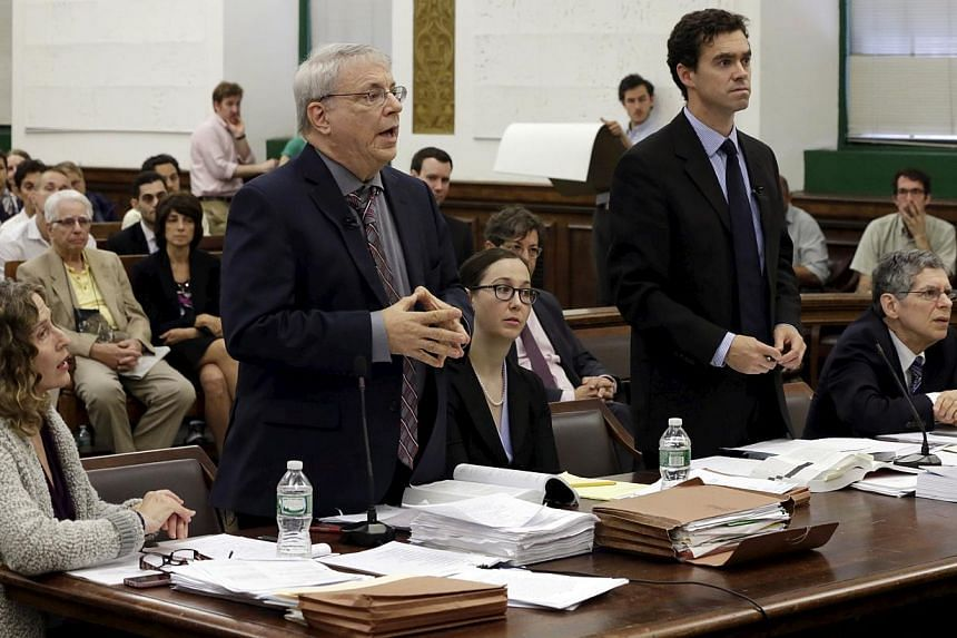 Attorney Steven Wise (second, left), President of the animal rights group Nonhuman Rights Project makes an argument as Assistant Attorney General Christopher Coulston (second, right) listens in New York State Supreme Court in the Manhattan borough of