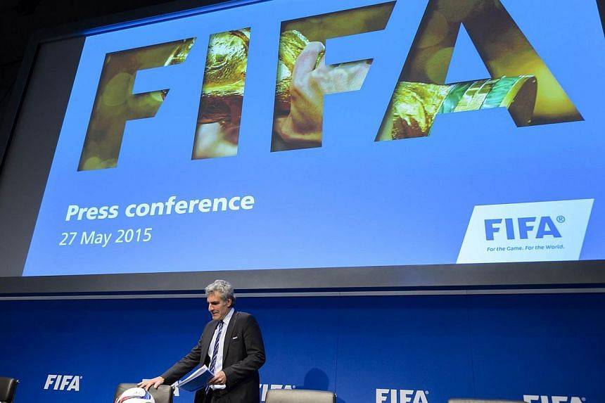 Fifa spokesman Walter De Gregorio arriving to give a press conference at the Fifa headquarters, on May 27, 2015 in Zurich. -- PHOTO: AFP