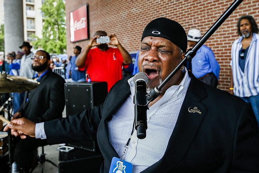 Tony Coleman, drummer for the late blues legend B.B. King, singing King's signature song The Thrill Is Gone, during a musical tribute in Memphis, Tennessee, on May 27, 2015. -- PHOTO: EPA