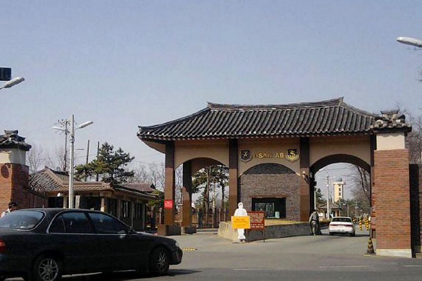 This photograph taken on April 15, 2010 shows the entrance to the US military base in Osan, south of Seoul. As many as 22 personnel may have been exposed to anthrax during a laboratory training exercise at the US military base in South Korea, a milit