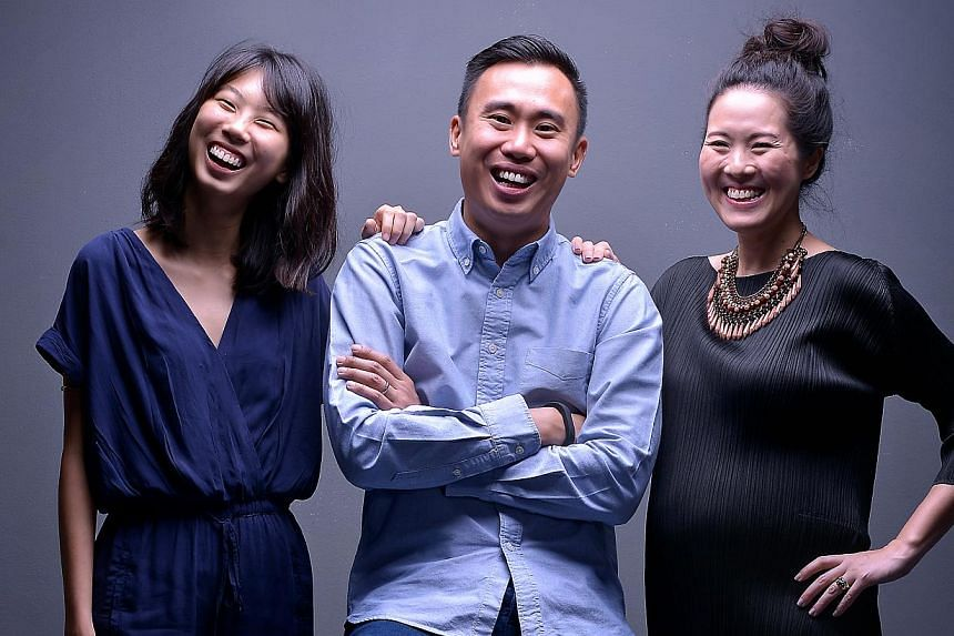 House Of Riot, comprising (from left) Sarah Sim, Mike See and Eugenie Yeo, hopes its show will set a precedent for other indie bands here to stage bigger concerts. -- ST PHOTO: KUA CHEE SIONG