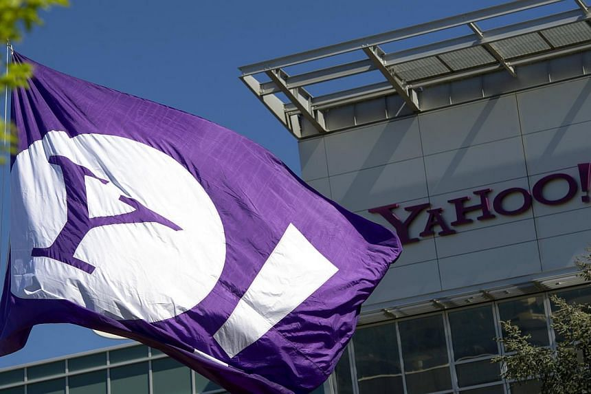 The Yahoo logo is displayed on a flag flying at the company's headquarters in Sunnyvale, California, US. -- PHOTO: BLOOMBERG