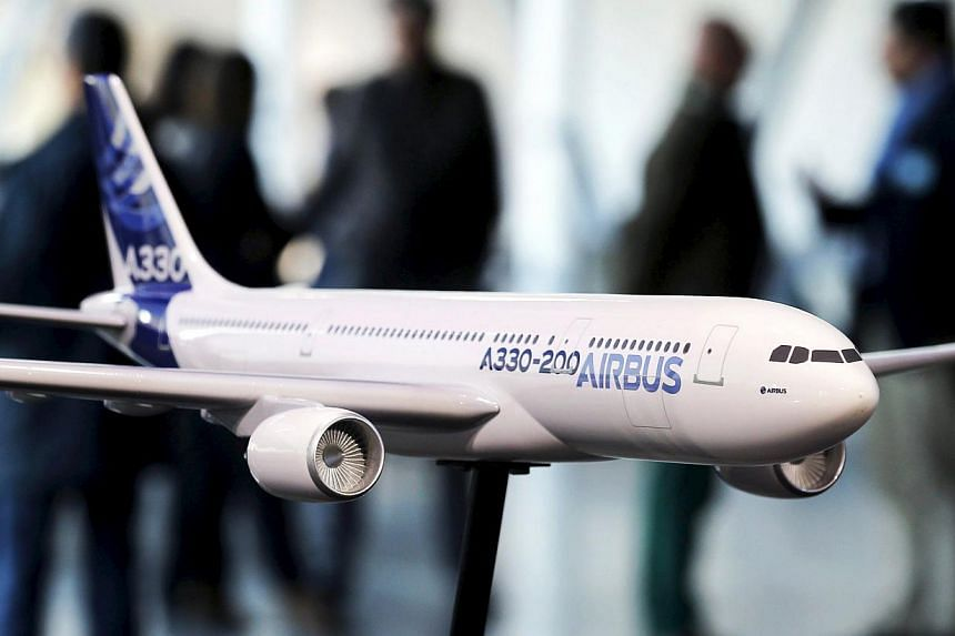 A scale model of an Airbus A330-200 during the Airbus annual news conference. -- PHOTO: REUTERS