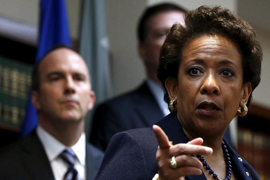 US Attorney General Loretta Lynch points during a news conference at the U.S. Attorney's Office of the Eastern District of New York in the Brooklyn borough of New York on May 27, 2015. -- PHOTO: REUTERS