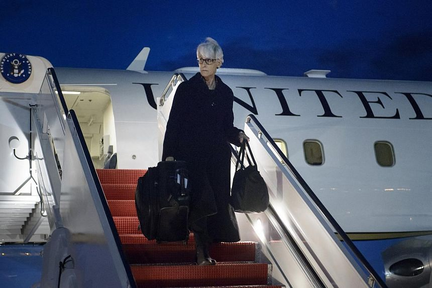 U.S. Under Secretary for Political Affairs Wendy Sherman arrives at Andrews Air Force Base in Maryland, April 3, 2015. She is the top United States negotiator in talks with Iran on curtailing its nuclear program, but she will leave her post after a J