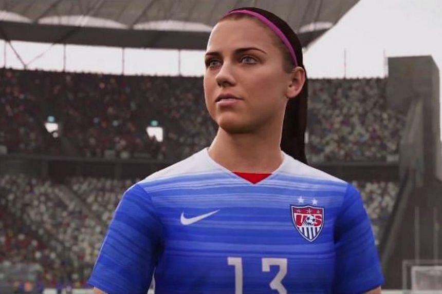 United States footballer Alex Morgan, as she looks in the upcoming Fifa 16. It will be the first game in the long-running series to feature women's national teams. -- PHOTO: EA SPORTS FIFA/YOUTUBE