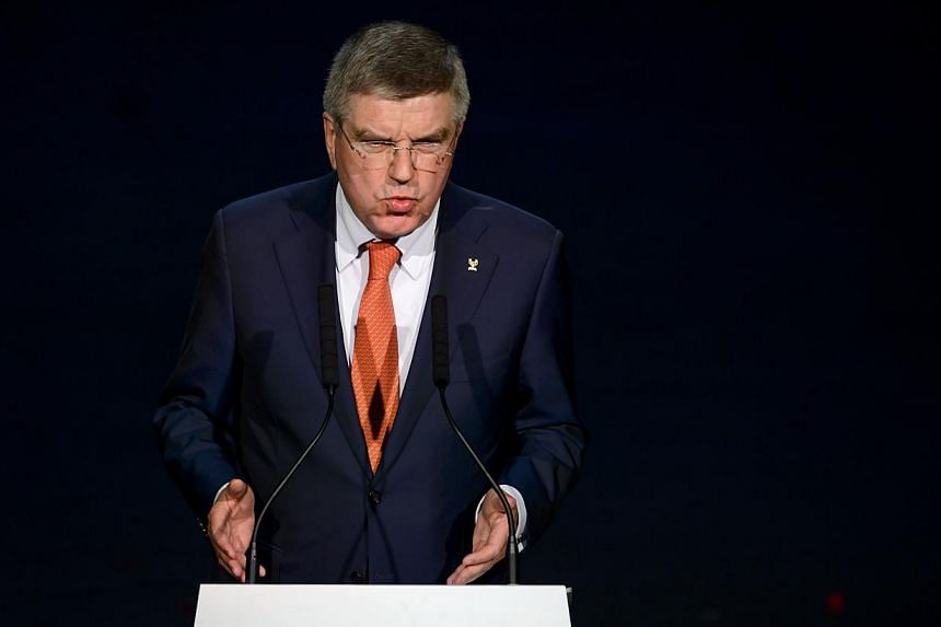 International Olympic Committee (IOC) President Thomas Bach gesturing as he speaks during the opening ceremony of the 65th Fifa Congress in Zurich on May 28, 2015. -- PHOTO: AFP
