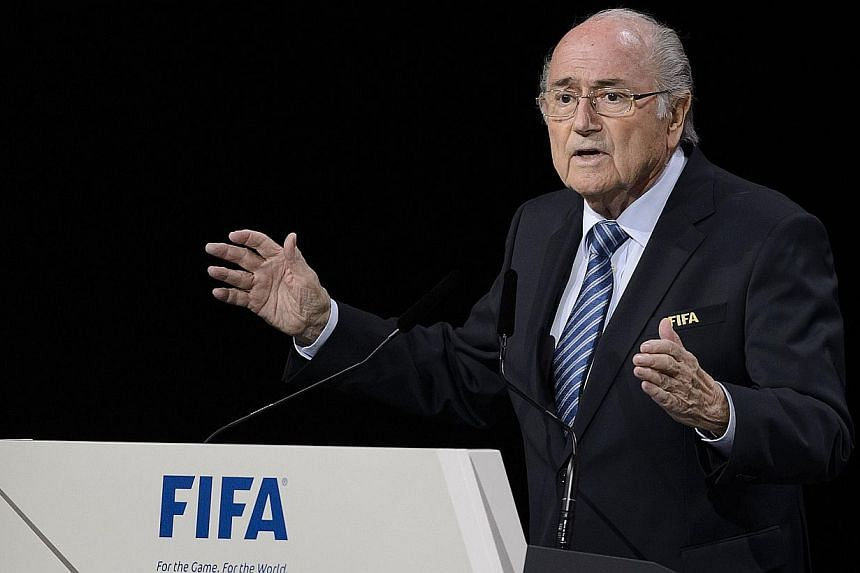 FIFA president Sepp Blatter delivers his speech ahead of the vote to decide on the FIFA presidency in Zurich on May 29, 2015. -- PHOTO: AFP