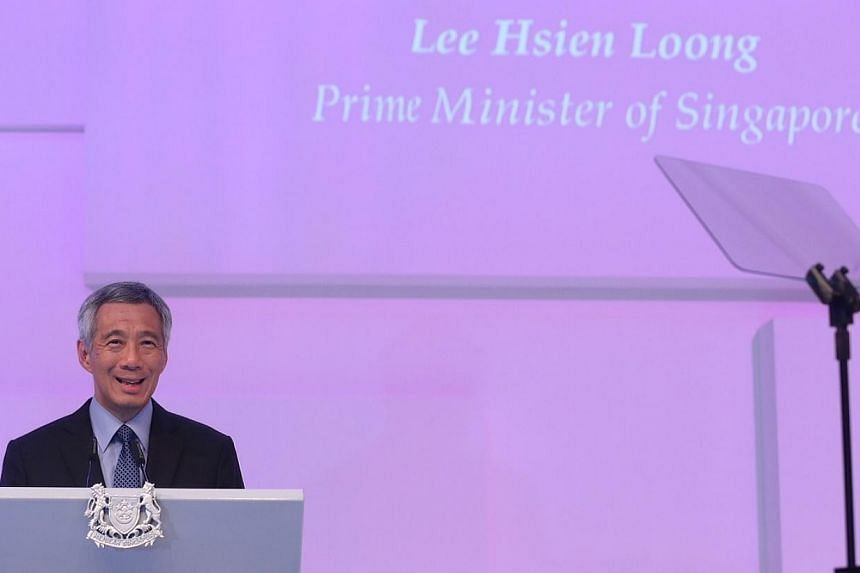 Prime Minister Lee Hsien Loong delivering the keynote address at the annual Shangri-La Dialogue security summit. -- ST PHOTO: NEO XIAOBIN