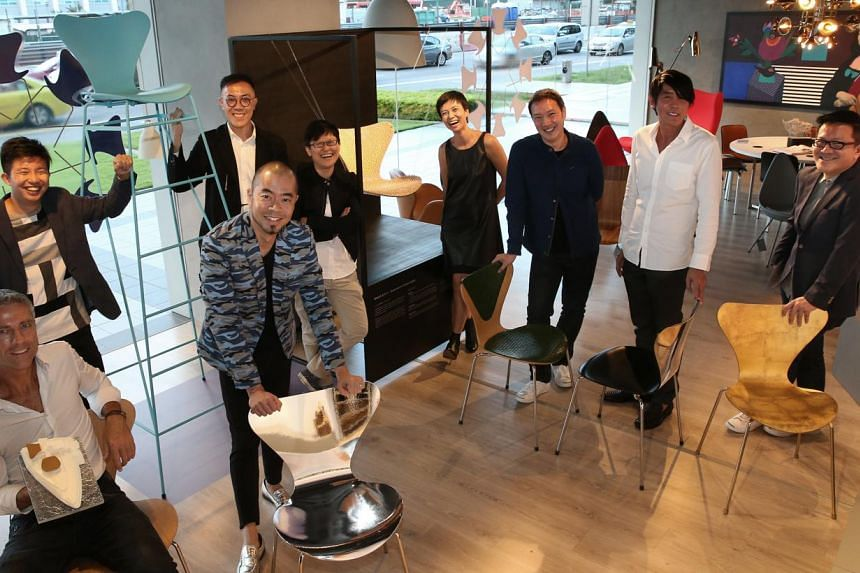 The designers include (back row, from far left) Si Jian Xin, Leong Hon Kit, Sal Chua, Sam Ang, Brendon Lim, Peter Tay, Terence Chan, (front row, from far left) Robert Greg Shand and Colin Seah. -- PHOTO: NEO XIAOBIN, REPUBLIC OF FRITZ HANSEN