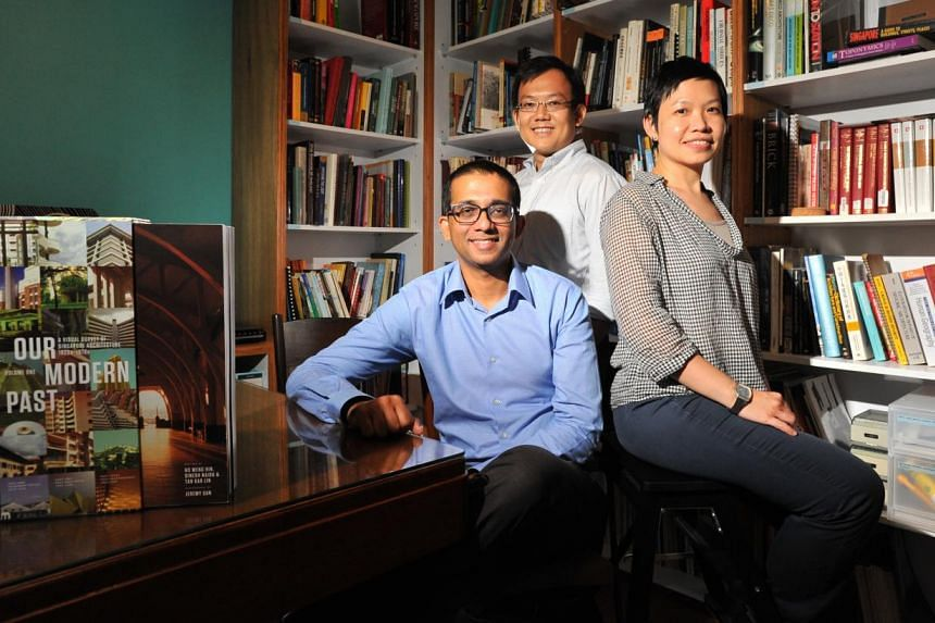 Our Modern Past: A Visual Survey Of Singapore Architecture 1920s-1970s is the architectural passion project of (from far left) Mr Dinesh Naidu, Mr Ho Weng Hin and Ms Tan Kar Lin.