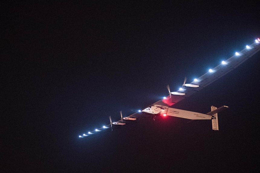 Solar Impluse 2 taking off from Nanjing's Lukou International Airport in China's eastern Jiangsu province, on May 31, 2015. -- PHOTO: AFP