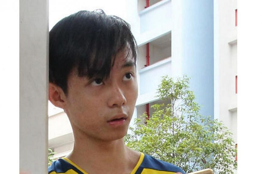 A 19-year-old teenager, surnamed Lim, saved his grandmother from the flat that caught fire. --PHOTO: LIANHE WANBAO