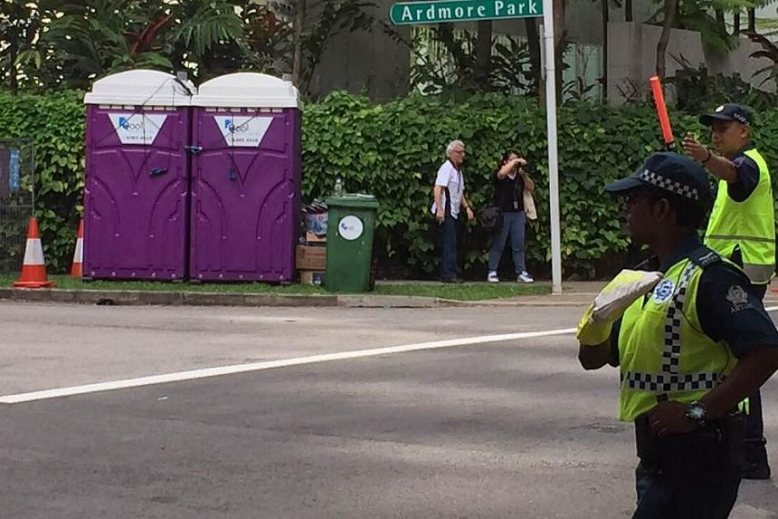 The checkpoint at the junction of Ardmore Park and Anderson Road where the car was apparently asked to stop for a boot check on Sunday, May 31, 2015. -- ST PHOTO: LEE MIN KOK