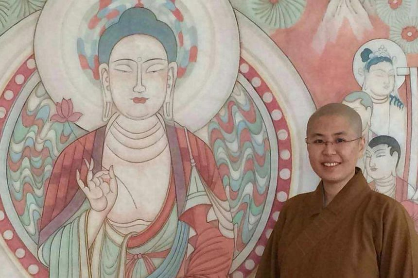 Venerable Jue Fang became a nun 14 years ago, soon after she graduated with a degree in economics and maths from the National University of Singapore, at the age of 23. -- PHOTO: VENERABLE JUE FANG