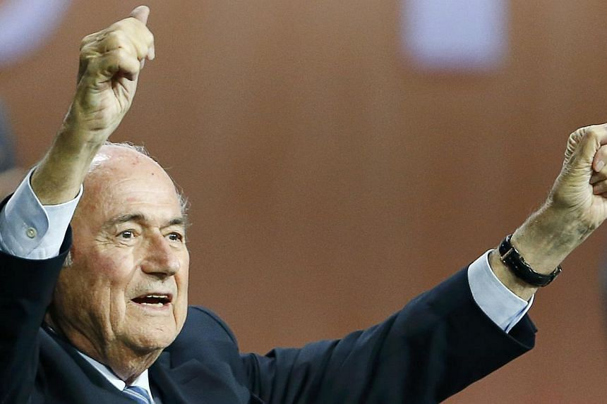 FIFA President Sepp Blatter reacts after he was re-elected at the 65th FIFA Congress in Zurich, Switzerland, on May 29, 2015. -- PHOTO: REUTERS