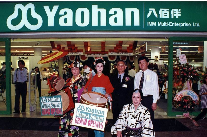 The grand opening of Yaohan's Marina Square branch. Mr Henry Quek, who was the store manager then, is standing on the extreme right, next to Yaohan corporate manager Soicho Sato (in suit), who is also the brother-in-law of the then president of Yaoha