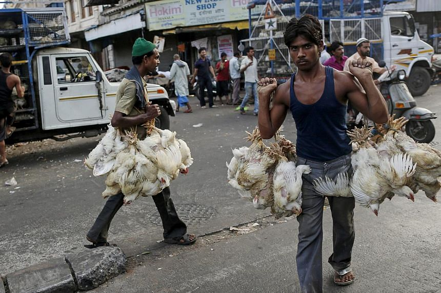 Workers carry chickens from trucks at a poultry market in Mumbai, India on June 1, 2015. Chicken prices in India soared to a record high after a heat wave killed more than 17 million birds in May, as temperatures regularly above 40 degrees Celsius le