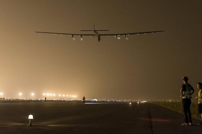 Solar Impulse 2 takes off in Nanjing, China, on May 31, 2015. The aircraft was in a holding pattern near Japan on Monday as organisers warned that bad weather in the days ahead could block the aircraft's ambitious bid to cross the Pacific Ocean. -- P