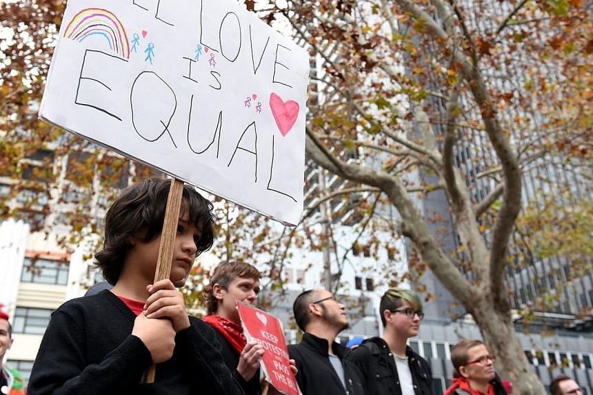 Demonstrators take part in a same-sex marriage equality rally in Sydney, Australia, on May 31, 2015. -- PHOTO: EPA