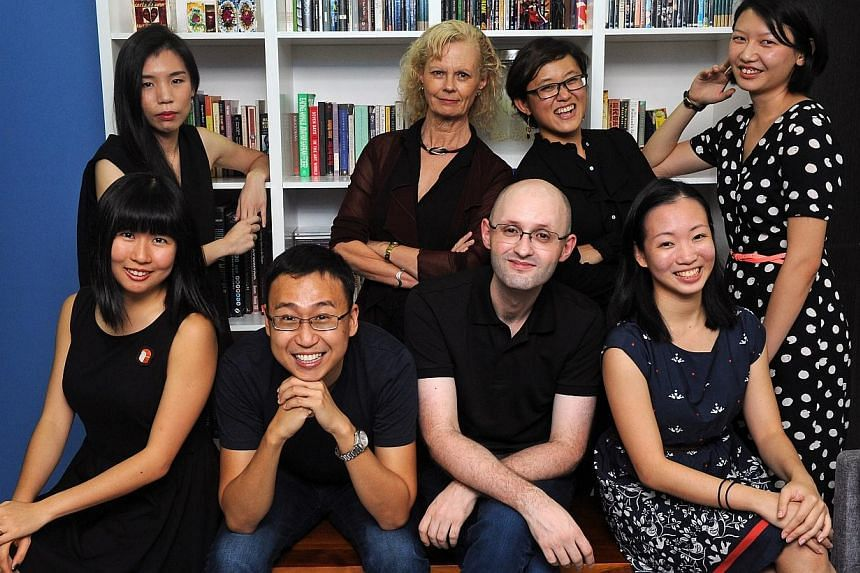 The Flying Inkpot theatre and dance team (front row, from left) volunteer writer Clara Lock,co-editors Kenneth Kwok and Matthew Lyon, volunteer writers Germaine Cheng, (back row, fromleft) Adeline Chia, Stephanie Burridge, Karin Lai and Selina Chong.