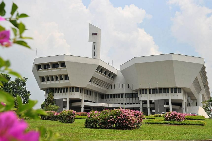 Jurong Town Hall has become the first conserved building to be gazetted as a national monument. -- ST PHOTO:LIM YAOHUI