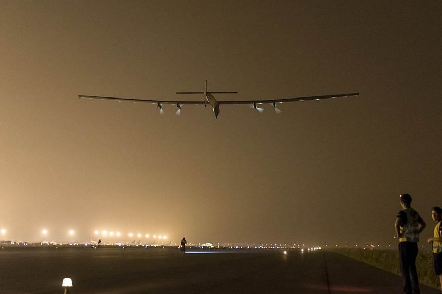 Solar Impulse 2 will land in the Japanese city of Nagoya, organisers say on Monday, as bad weather delayed a landmark attempt by the solar plane to cross the Pacific Ocean. -- PHOTO: REUTERS