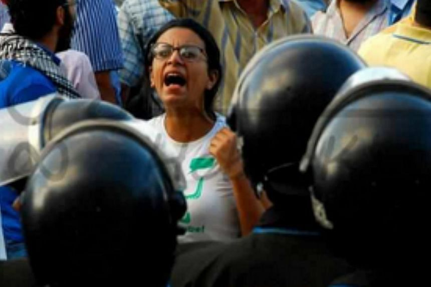Egyptian activitst and award winning lawyer Mahienour el-Massry at an unidentified protest in Cairo. -- PHOTO: FACEBOOK