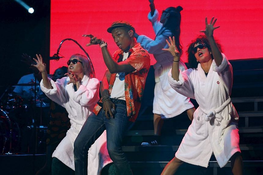 Singer Pharrell Williams performs during the 14th Mawazine World Rhythms International Music Festival in Rabat on Saturday (May 30). -- PHOTO: REUTERS