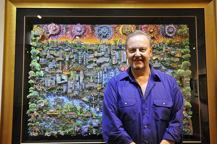 Titled Celebrating The Enchanted Island Of Singapore, the $88,000 'pop-up' work by Charles Fazzino has been sold. -- ST PHOTO: PAIGE LIM