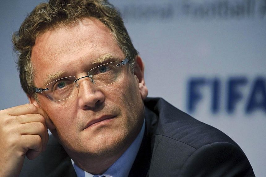 A photo taken on July 5, 2012 shows FIFA Secretary General Jerome Valcke during a press conference after a meeting of the International Football Association Board (IFAB) in Zurich. -- PHOTO: AFP