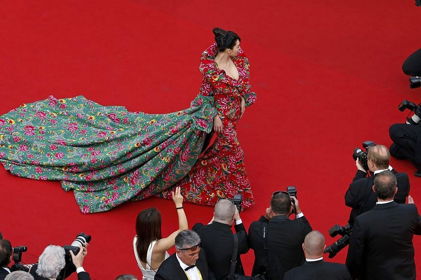 Zhang was seen on the Cannes Film Festival red carpet on May 13, 2015, wearing a peasant blanket of a dress. -- PHOTO: REUTERS