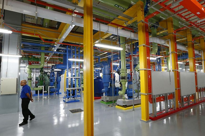 The chiller room at Google's data centre in Jurong. Barely 18 months after opening its first data centre in Singapore, Google is expanding the facility to deal with a surge in data usage both domestically and globally. -- ST PHOTO: KEVIN LIM
