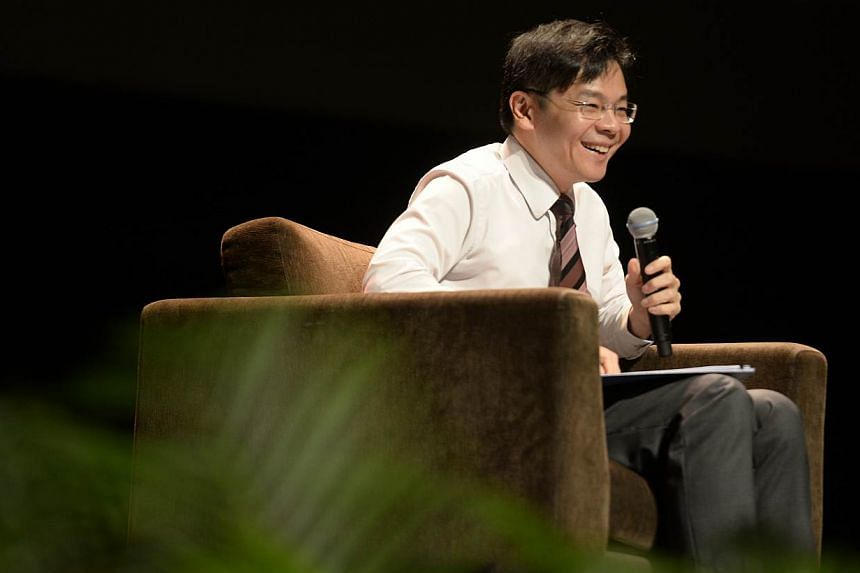 Minister for Culture, Community and Youth and Second Minister for Communications and Information Lawrence Wong speaking at the Pre-University Seminar 2015 held at the University Cultural Centre on June 2, 2015.-- ST PHOTO:MARK CHEONG