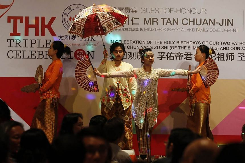 Residents of the Thye Hua Kwan home for Disabled at Eunos performing during the Thye Hua Kwan Moral Society 37th anniversary event held at the Singapore Marriot Tang Plaza Hotel on Tuesday, June 2, 2015. The voluntary welfare organisation is looking