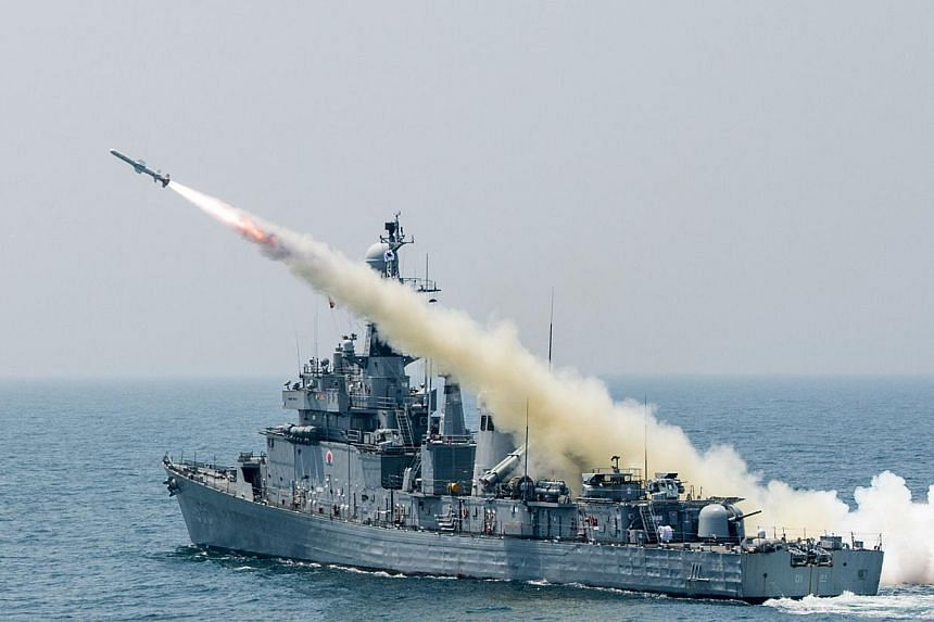 This handout photo released by the South Korean Defence Ministry shows a South Korean navy vessel firing an anti-ship missile during a naval drill off the east coast of South Korea on May 19, 2015. South Korea on Wednesday, June 3, test-fired two bal