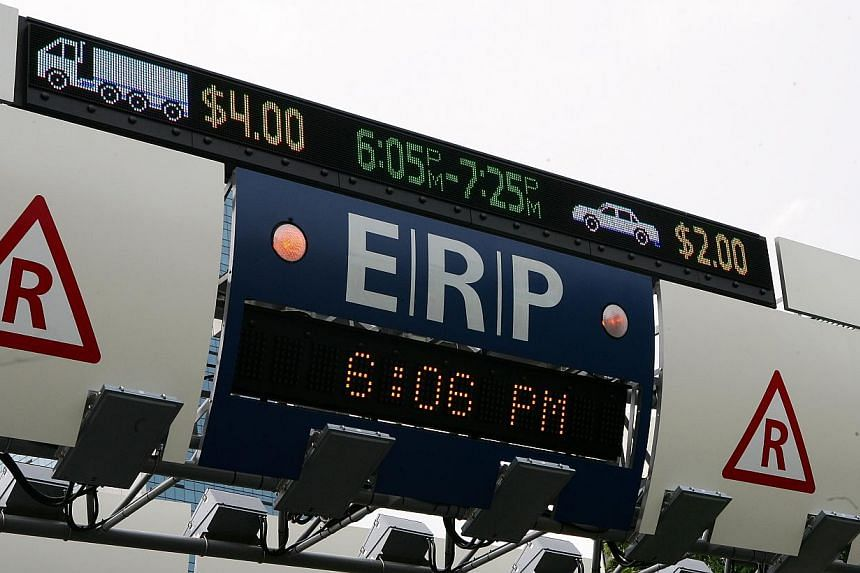 The current Electronic Road Pricing (ERP) gantry along Eu Tong Sen Street will be relocated to about 50m down the road. -- PHOTO: ST FILE
