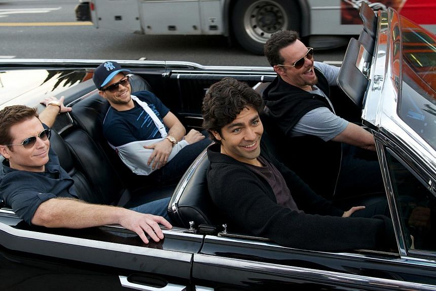 Enjoying the high life in the movie are (from far left) Kevin Connolly, Jerry Ferrara, Adrian Grenier and Kevin Dillon. -- PHOTO: WARNER BROS