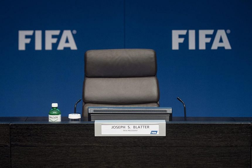 The empty chair of Fifa president Joseph S. Blatter prior to a press conference at the Fifa headquarters in Zurich, Switzerland, on June 2, 2015. -- PHOTO: EPA