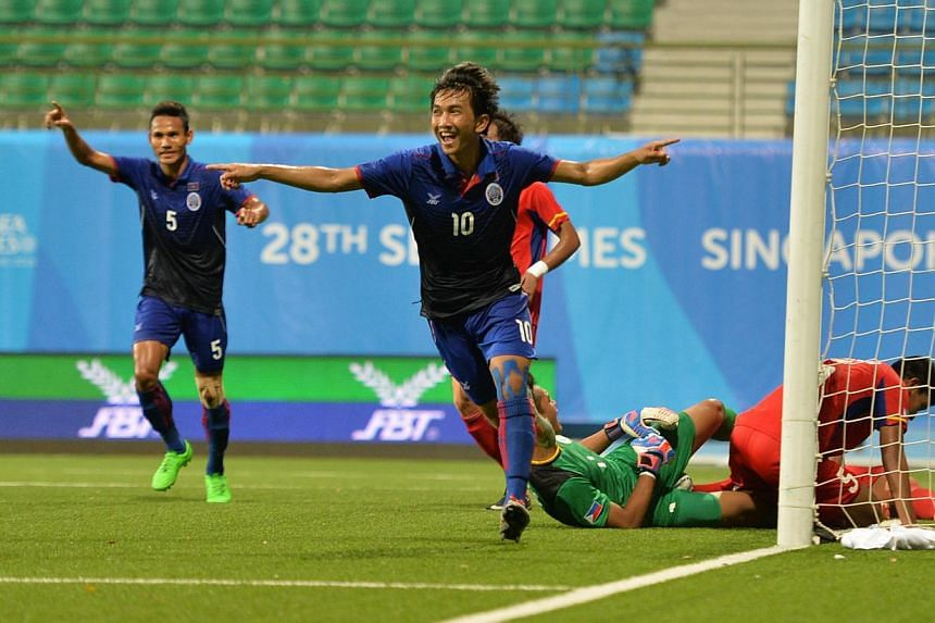 Cambodia's Keo Sokpheng celebrating after scoring his side's second goal against the Philippines, at Jalan Besar Stadium on Wednesday, June 3, 2015. -- PHOTO: THE NEW PAPER