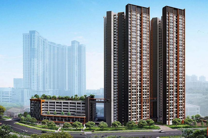 An artist's impression of Clementi Crest. Five-room units in the new Build-to-Order project drew the highest demand yesterday. They had an application rate of 13.1, with 2,047 buyers vying for just 156 units. -- PHOTO: HDB