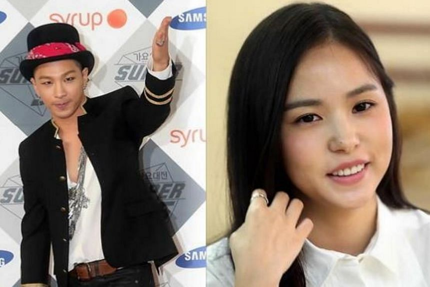 K-pop singer Taeyang (left) from wildly successful boy group BigBang is in a relationship with actress Min Hyo Rin, both their agencies confirmed on Tuesday. -- PHOTO: KOREA HERALD/ASIA NEWS NETWORK