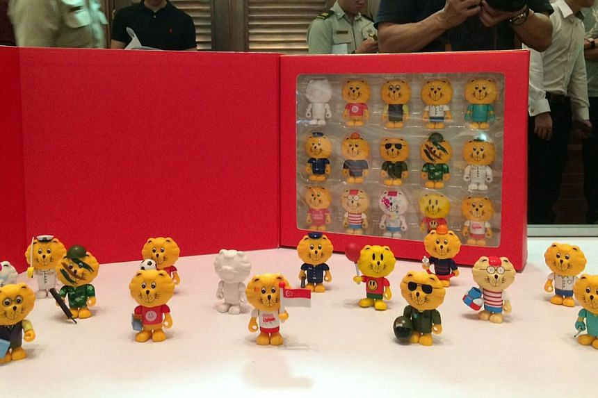 Commemorative figurines of Singa the Lion which come in 15 different designs. --ST PHOTO: KEVIN LIM